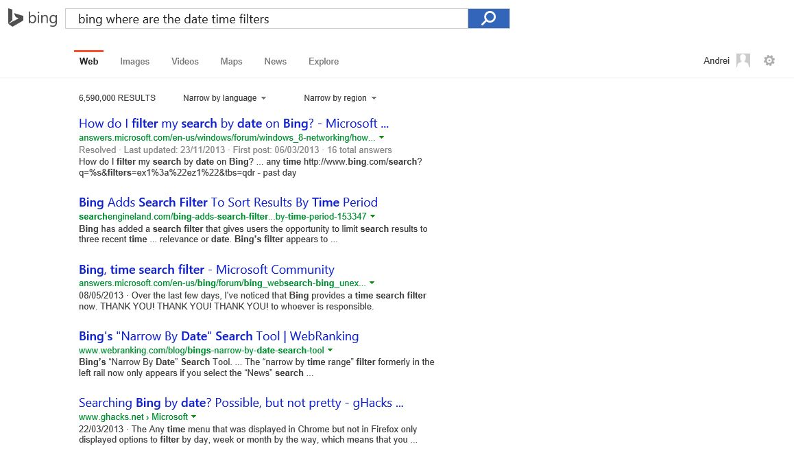 Bing, Where Is My Date Time Filter?